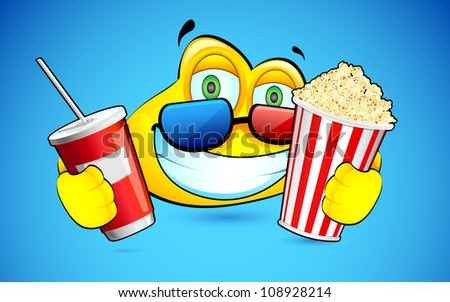illustration of smiley with pop corn and 3d goggles - stock vector