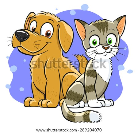 Illustration of smiling cartoon cat and dog on the abstract background ...