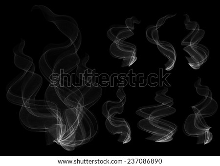 Illustration of smoke clouds collection on black background  - stock vector