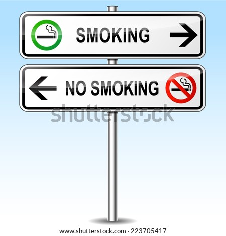 Illustration of smoking and no smoking directional sign
