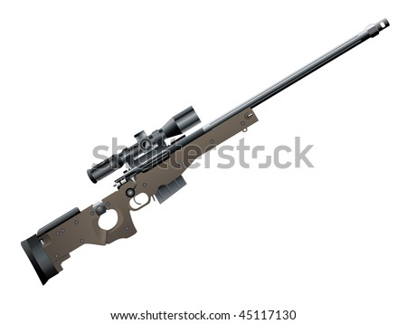 Illustration of sniper rifle - stock vector