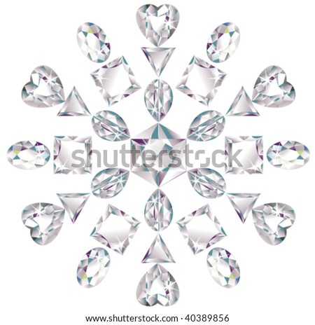 Illustration of snowflake made from different cut diamonds isolated on white - stock vector