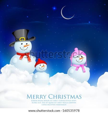 illustration of Snowman Family in Christmas Night - stock vector