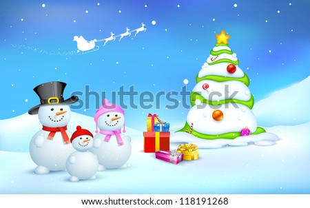 illustration of snowman family with Christmas gift - stock vector