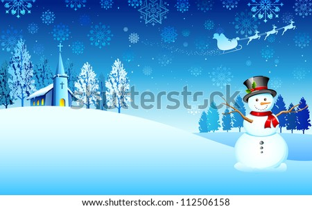 illustration of snowman in christmas night with santa flying in sledge - stock vector