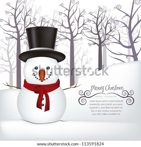 illustration of snowman, on a background of snow and trees, vector illustration - stock vector