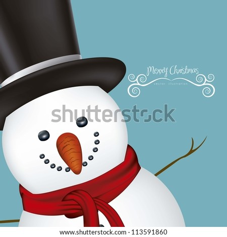 illustration of snowman, on a clear background, vector illustration - stock vector