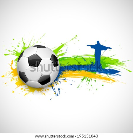 illustration of soccer ball and Christ the Redeemer in Football background - stock vector