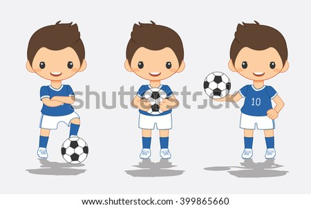 illustration of soccer blue player, vector illustration - stock vector