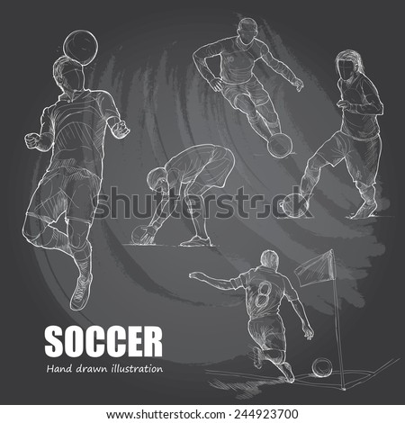 Illustration of Soccer. Hand drawn. chalkboard. vector. - stock vector