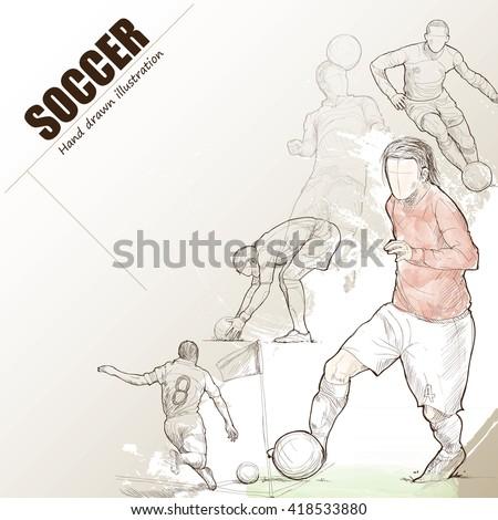 Illustration of soccer. hand drawn. soccer poster. Sport background. - stock vector