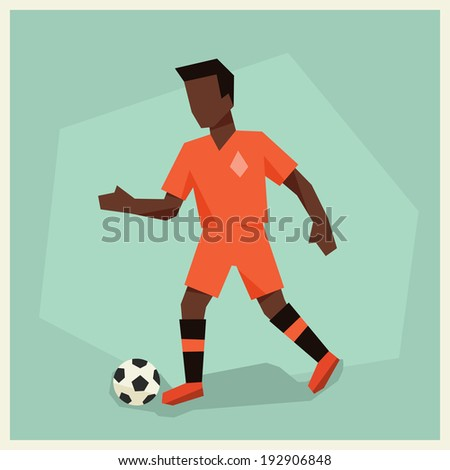 Illustration of soccer player in flat design style. - stock vector