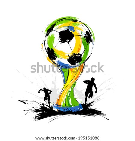illustration of soccer player in Football background - stock vector