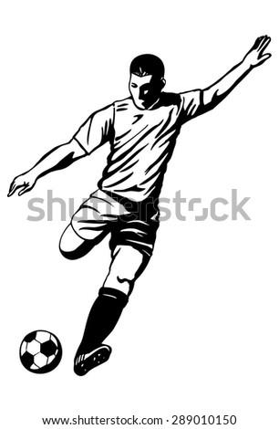 Illustration of soccer player kicking the ball - stock vector
