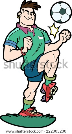 Illustration of soccer player who hits the ball with his knee - stock vector
