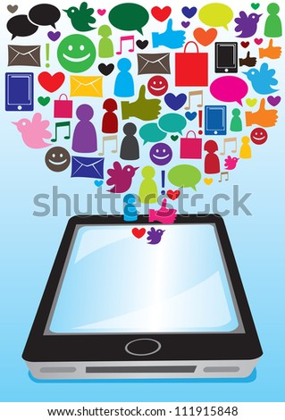 Illustration of social media and computer icons going into the touchscreen of smart phone - stock vector