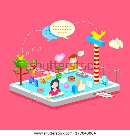illustration of social media concept in mobile phone - stock vector