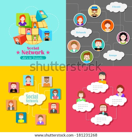 illustration of social media concept with people connected in flat style - stock vector