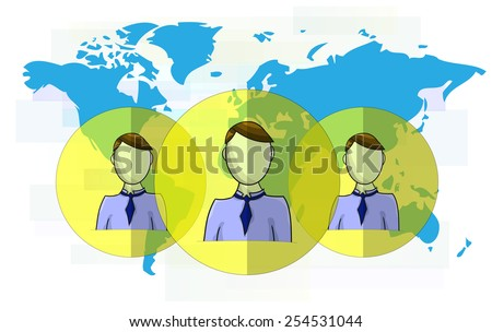 Illustration of social media heads with world map - stock vector