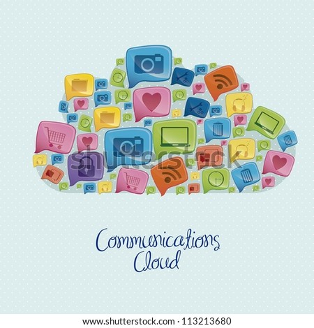 Illustration of social networking icons forming a communications cloud, vector illustration - stock vector