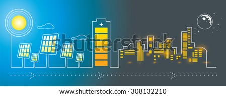 Illustration of solar panels city energy charging with big battery - stock vector