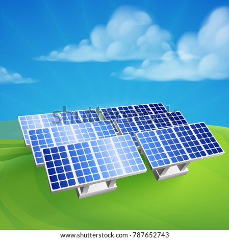 Illustration of solar power energy photovoltaic renewable electricity farm generating station cells