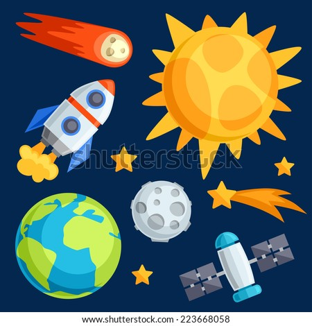 Illustration of solar system, planets and celestial bodies. - stock vector