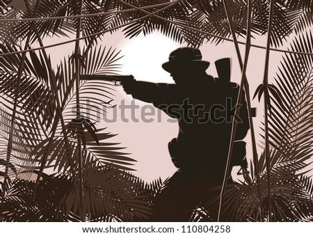 illustration of soldier in jungle forest. vector 2 - stock vector