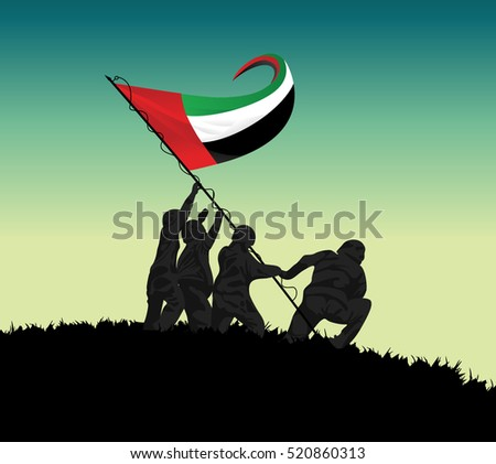 Illustration of soldier raising UAE flag on hill 1