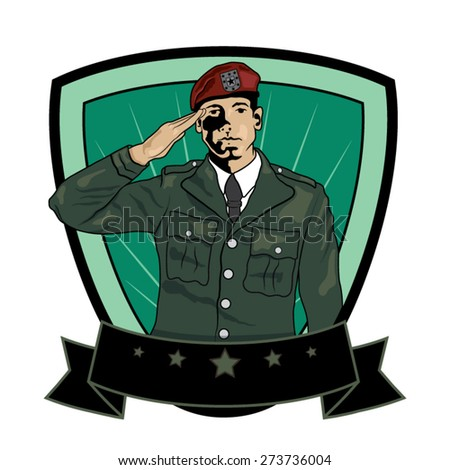 Illustration of Soldier Saluting. Vector Image - stock vector