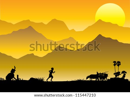 Illustration of South East Asia countryside, the moment father coming back home - stock vector