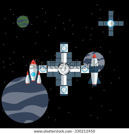 Illustration of space station - stock vector