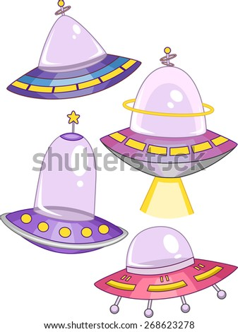 Illustration of Spaceships with Different Colors and Shapes - stock vector