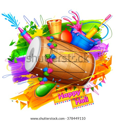 illustration of spalsh with Holi object coming out from bucket - stock vector