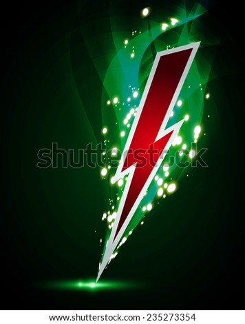illustration of sparkling lightning bolt with electric effect  - stock vector