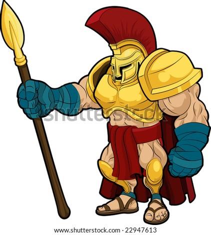 Illustration of Spartan or Trojan gladiator in armor - stock vector