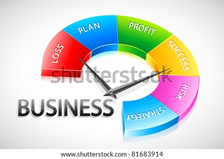 illustration of speedometer showing business content - stock vector