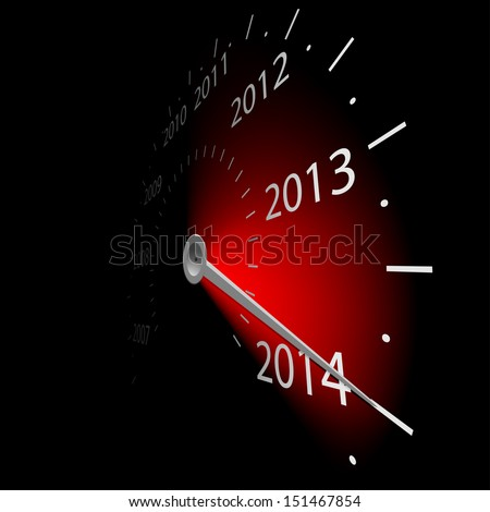 Illustration of speedometer with the date of year. Vector.2014. - stock vector