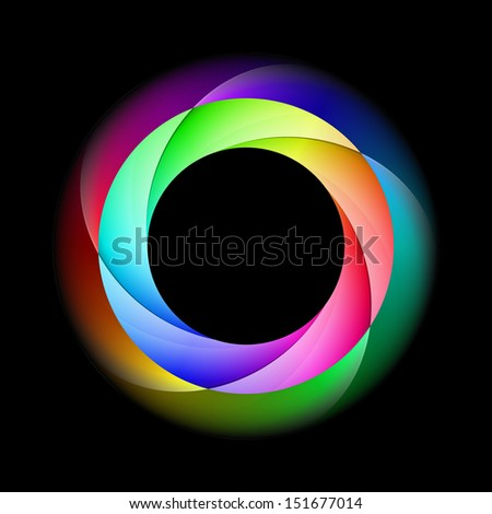 Illustration of spiral ring in bright and diffused colors on black background.