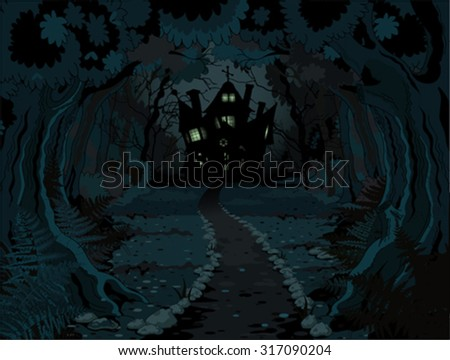 Illustration of spooky haunted house on night background - stock vector