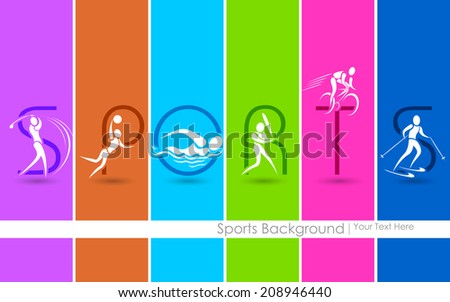 illustration of sports background showing different games - stock vector