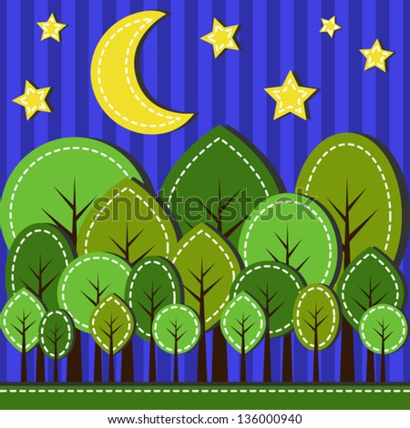 Illustration of spring forest at night, dashed style - stock vector