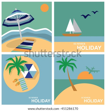 illustration of square card with the image of a summer holiday on the sea - stock vector