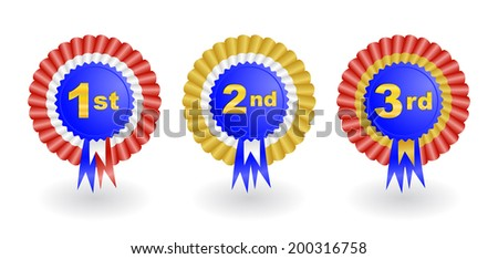 Illustration of 1st, 2nd and 3rd place award ribbons isolated  - stock vector