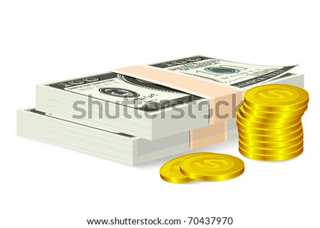 illustration of stacked money bill and coin on isolated background - stock vector