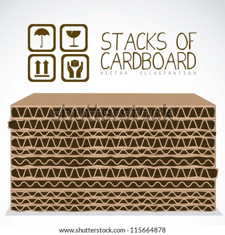 Illustration of stacks of cardboard boxes, cardboard texture, vector illustration - stock vector