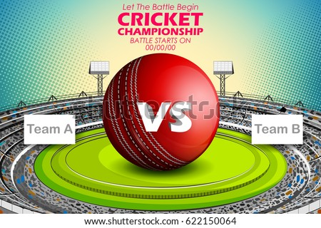 illustration of Stadium of Cricket with ball on pitch and VS versus text