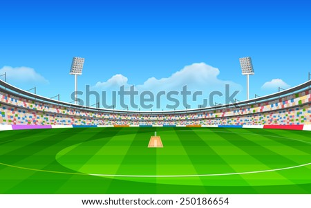 illustration of stadium of cricket with pitch - stock vector