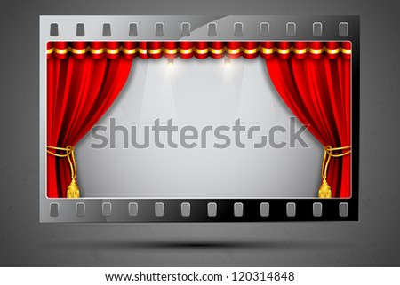 illustration of stage curtain in film stripe showing cinema theater - stock vector