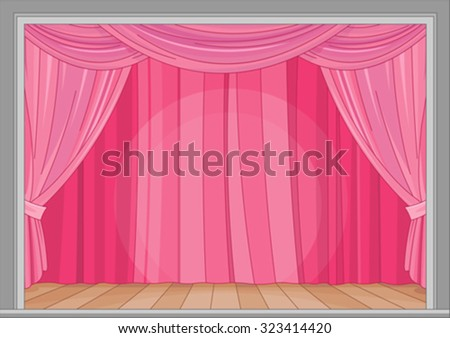 Illustration of stage with red curtain - stock vector